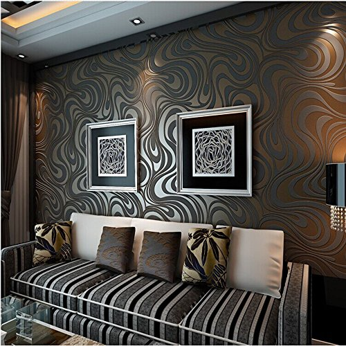 10M Modern Luxury Abstract Curve 3D Wallpaper Roll Mural Paper Parede Flocking for Striped Black&Brown Color 0.7m8.4m=5.88SQM