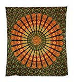 Aga's Own Indische Mandala Tagesdecke, Wandtuch, Tagesdecke Mandala Druck - 100prozent Baumwolle, 210x240 cm, Bettüberwurf, Sofa Überwurf (Muster 16)