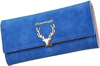 Women Suede Leather Long Wallet Card Organizer Clutch Bag with Deer Pattern Lock