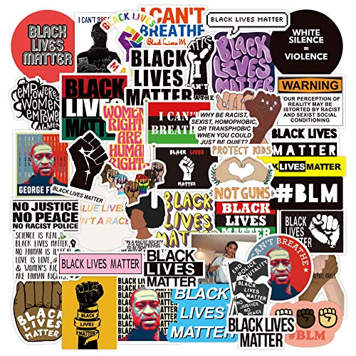Black Lives Matter, Black Rights Defender Stickers[50pcs]Office Laptop Decor Life Saying Art Waterproof Vinyl Decal for Car Window Glass Decoration Water Bottle Phone Case Skateboard Luggage Bike