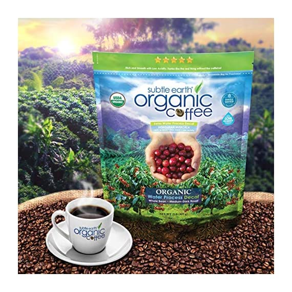 2LB Subtle Earth Organic Decaf - Swiss Water Process Decaf - Medium Dark Roast - Whole Bean Coffee - Low Acidity… 4 Swiss Water Process Decaffienated - 99.9% Caffiene Free USDA Organic Certified - Whole Bean - Medium Dark Roast Rich and chocolatey with profound depth of flavor, velvety body, and low acidity