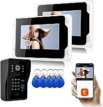 Tuya WiFi 7-inch videodeurbel, intercom, RFID-kaart Wachtwoord Home Security Video-deurtelefoon, 2-monitordisplay + 1080P ...