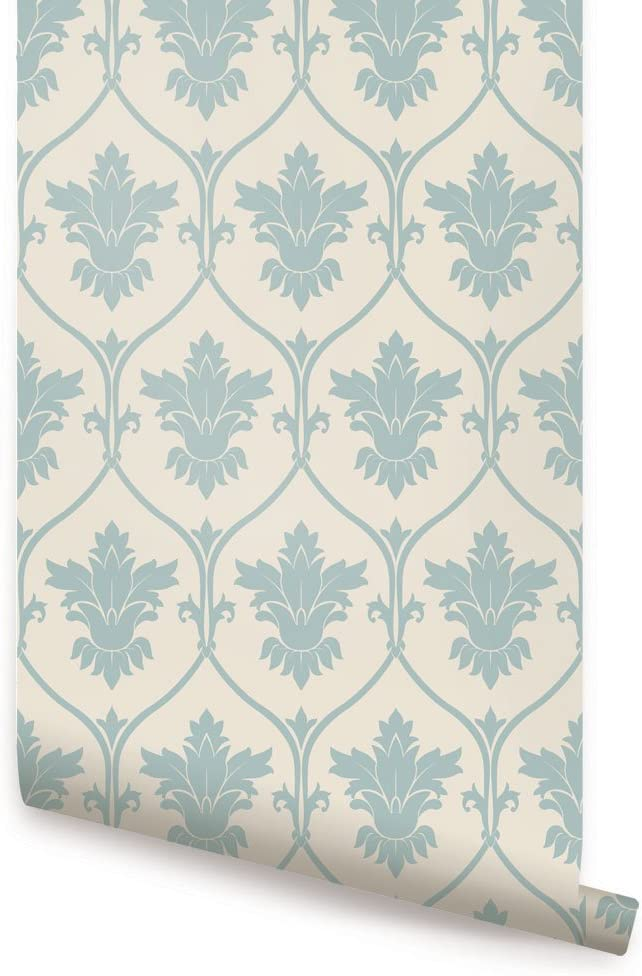 Damask Tulsa Mall Wallpaper - Dusky Sale Special Price Blue 2 Simple 4 x ft by Single