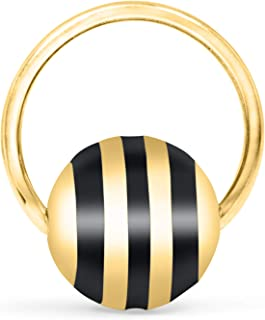 Jewelry 14K Gold Plated Ball Open Round Circle Hoop Ring Ear Piercing For Women Girls Men Hypoallergenic Minimalist