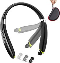 Bluetooth Headphones, BEARTWO Upgraded Foldable Wireless Neckband Headset with Retractable...