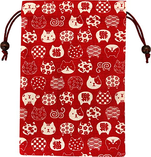 京佑 御朱印帳 ご朱印帳 朱印帳 巾着 袋 入れ 猫 日本製 和柄 にゃんこもん 赤 18×26.5cm