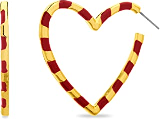 Steve Madden Yellow Gold Plated Red Stripe Heart Hoop Earrings for Women