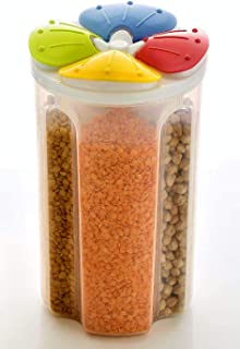 Denique 2500ml 4 Grid Cereal & Dry Food Storage Plastic Multicolour Containers, Airtight Lid Suitable for Kitchen Cereal, ...