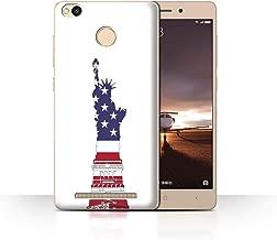 Phone Case for Xiaomi Redmi 3 Pro/3S Prime USA America Pride Statue of Liberty Patriot Design Transparent Clear Ultra Slim Thin Hard Back Cover
