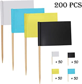 4 Colors Mini Blank Flag Seasonsky 200 PCS Paper Food Picks for Party Cake Food Cheese Plate Appetizers Dinner Cake Toothpicks Cupcake Decoration Fruit Cocktail Sticks Party Supplies