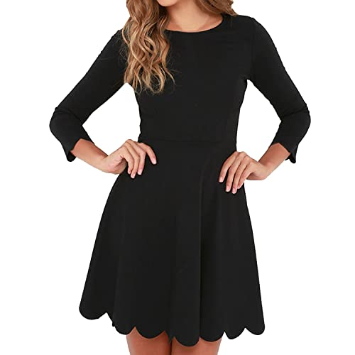 02eb36c7d2 SUNNOW Women s O-Neck 3 4 Sleeve Pleated Tunic Wavy Skater Dress
