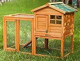 Gona Kaninchenstall 118x54x92 cm, 2-Tier 2 Vordertüren 1 Leiter, Outdoor Kleintierkäfig für Hasen, Zwergkaninchen, Meerschweinchen, Frettchen, mit Linoleumdach
