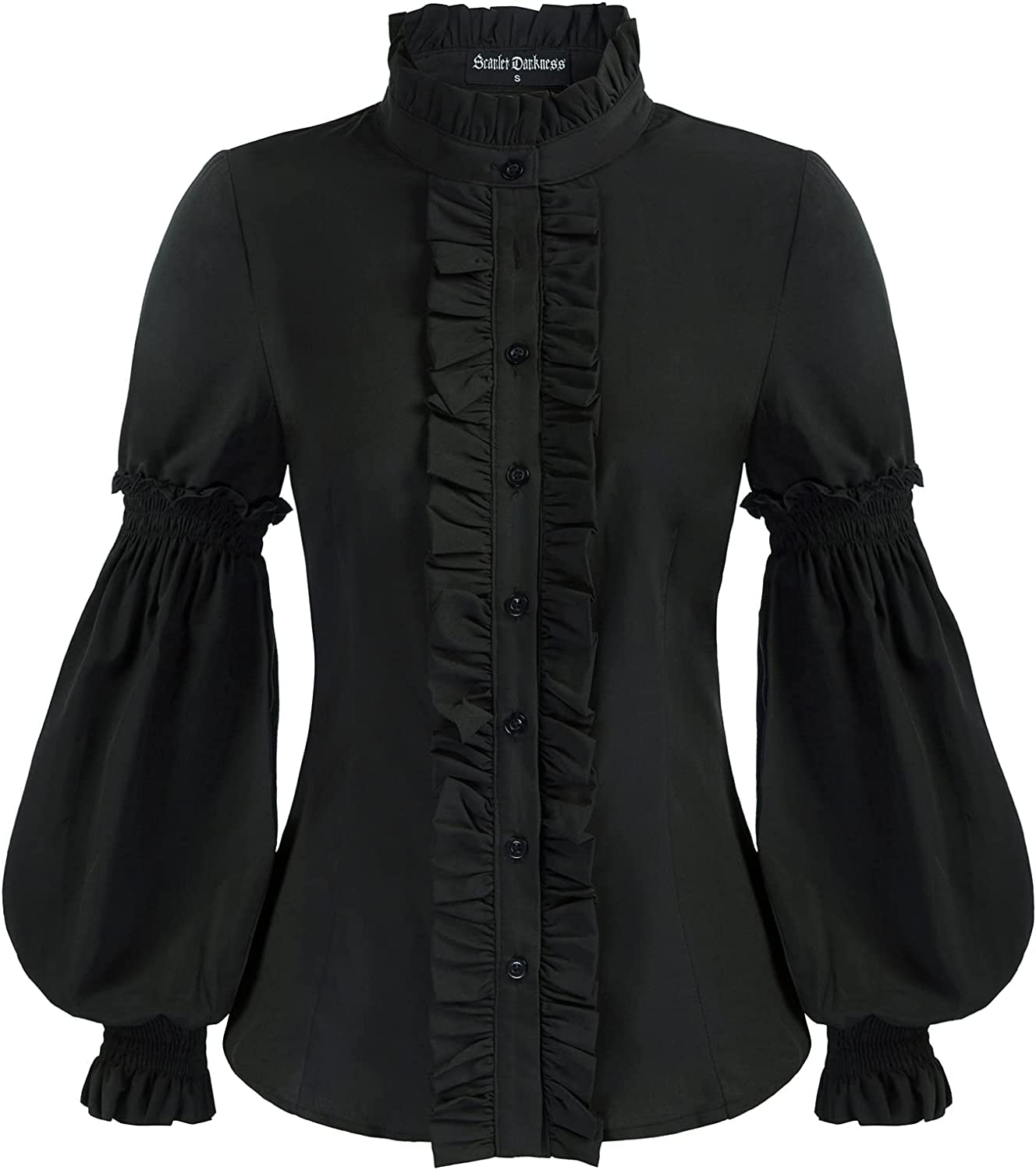 Women Victorian Lotus Ruffle Shirts Vintage Stand Collar Blouse Tops