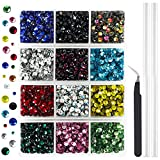 Outuxed 5400pcs Hotfix Rhinestones Flatback Gemstones and Crystals Set 12 Mixed Color Rhinestones for Crafts, Clothes with Tweezers and 2 Picking Pens