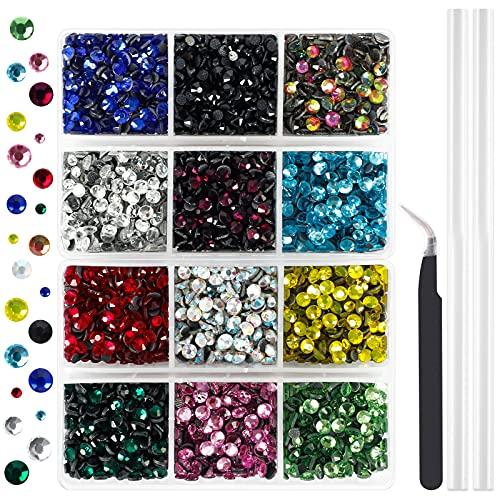 Outuxed 5400pcs Hotfix Rhinestones Flatback Gemstones and Crystals Set 12 Mixed...