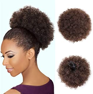Afro Puff Human Hair Drawstring Ponytails Clip African American Ponytail Short Kinky Curly Puffs Hair Extensions for Black Women(4#)