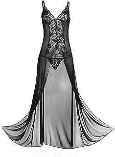 iiniim Women's Lingerie See-Through Lace Split Babydoll Nightwear Dress with G-String