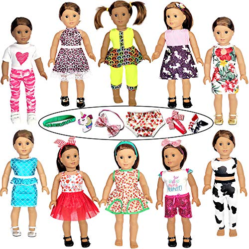 21 Pcs 18 inch Doll Clothes and Accessories fit American 18