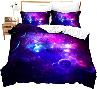 Erosebridal Constellation Duvet Cover Set, Purple Starry Sky Bedding Set Boundless Abstract Galaxy Printed Comforter Cover...