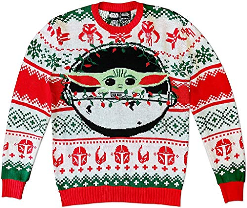 Star Wars The Mandalorian The Child with Lights Ugly Christmas Sweater (Small) Green,red