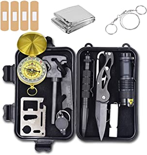 Alritz Emergency Survival Kit, 12 in 1 Outdoor Survival Gear Tools Contains Fire Starter, Compass, Flashlight, Blanket for Camping Hiking Wilderness Adventures and Disaster Preparedness
