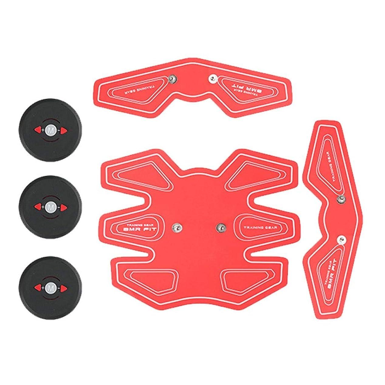ABS筋肉トレーナー、携帯用腹部筋肉調子ベルトの家の適性の訓練装置、腹部腕の足の訓練の人および女性のための簡単な操作 (Color : Red)