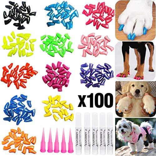 100pcs Dog Nail Caps, VITCHY Glitter Colors Pet...