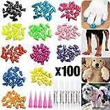 VICTHY 100pcs Dog Nail Caps, Glitter Colors...