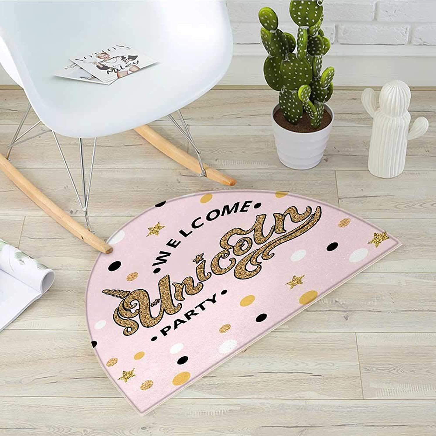 Unicorn Party Half Round Door mats Hand Drawn Lettering with Pale Pink Dots and Stars Background Bathroom Mat H 31.5  xD 47.2  Apricot Pale Pink Black