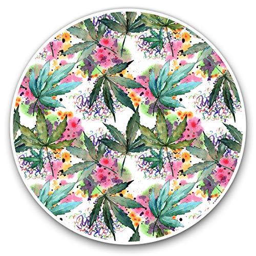 2 pegatinas de corazón de 10 cm, diseño de hojas de cannabis para portátiles, tabletas, equipaje, reserva de chatarra, neveras #16560