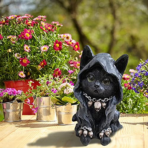 Figura de gato felino, gato con cráneo con esculturas de resina, pintada a mano, decoración de interior y exterior, decoración del hogar, regalo de Halloween