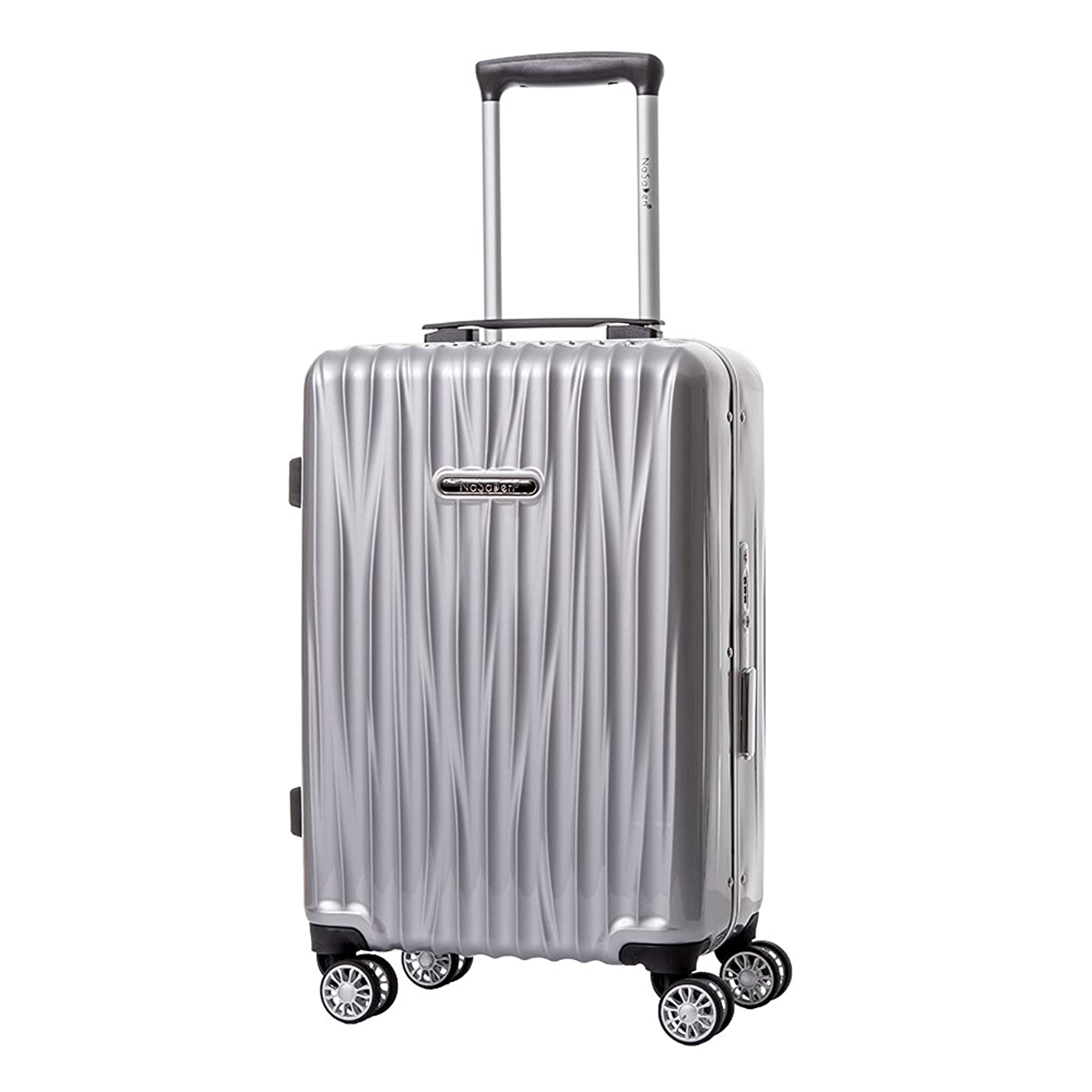 NaSaDen Aluminum Frame Hardside Luggage Spinner Suitcase with TSA Lock 100% PC Carry-On [Silver] 20in
