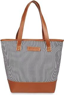 Sakwoods Women Printed Canvas Black Stripes Tote Bag