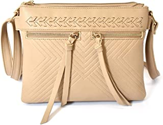 Charming Charlie Women's Crossbody Bag w/Whipstitch - Pockets, Shoulder Strap