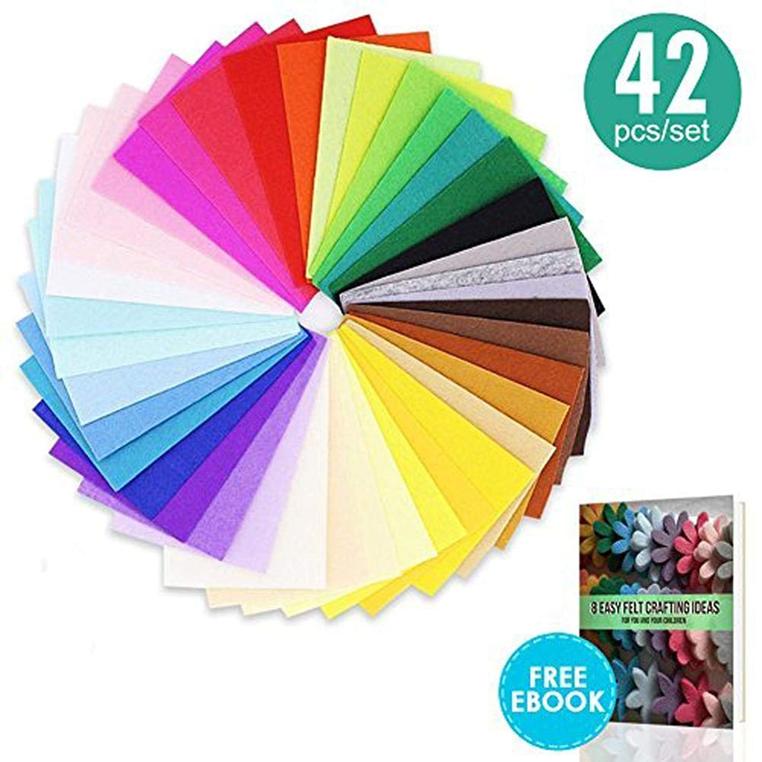 42 pcs 8x12 inch(20x30 cm) Craft Felt Sheets,Assorted Color 1mm Thick Felt Fabric Squares, Nonwoven Fabric Sheet Pack for DIY Craft Patchworks Sewing with Easy Felt Crafting Ideas Ebook