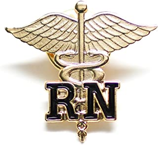 Rn Registered Nurse Emblem Pin Caduceus