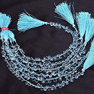 Briolettes de piedras preciosas de aguamarina de 7x5 mm | Cuentas de pera facetadas de aguamarina AAA | Briolettes de pied...