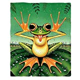 Moslion Soft Cozy Throw Blanket Funny Frog Makes Face On Lotus Leaf Cartoon Fuzzy Warm Couch/Bed Blanket for Adult/Youth Polyester 30 X 40 Inches(Home/Travel/Camping Applicable)