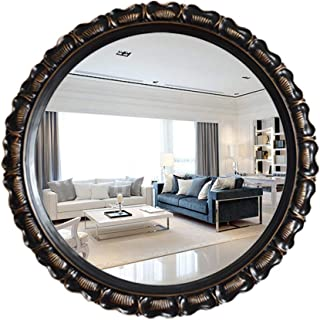 WYXIAN Mirror Wall-Mounted Bathroom Parlor Makeup High-Definition Round Framed Resin Simple Retro (Color : Brass, Size : 72CM)