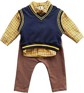 Mornyray 子供服 フォーマル スーツ ワイシャツ 長袖 ロングパンツ ベスト ニット 3セット 男の子 ベビー コットン size 100 (ネイビー)