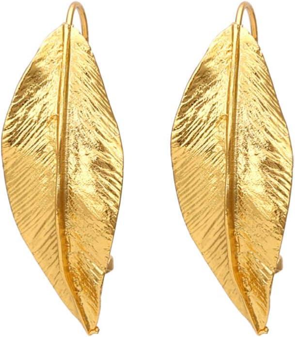 BESTOYARD 1 Pair Gold Leaf Earrings Retro Leaf Ear Decorations Woman Fashion Ear Accessories