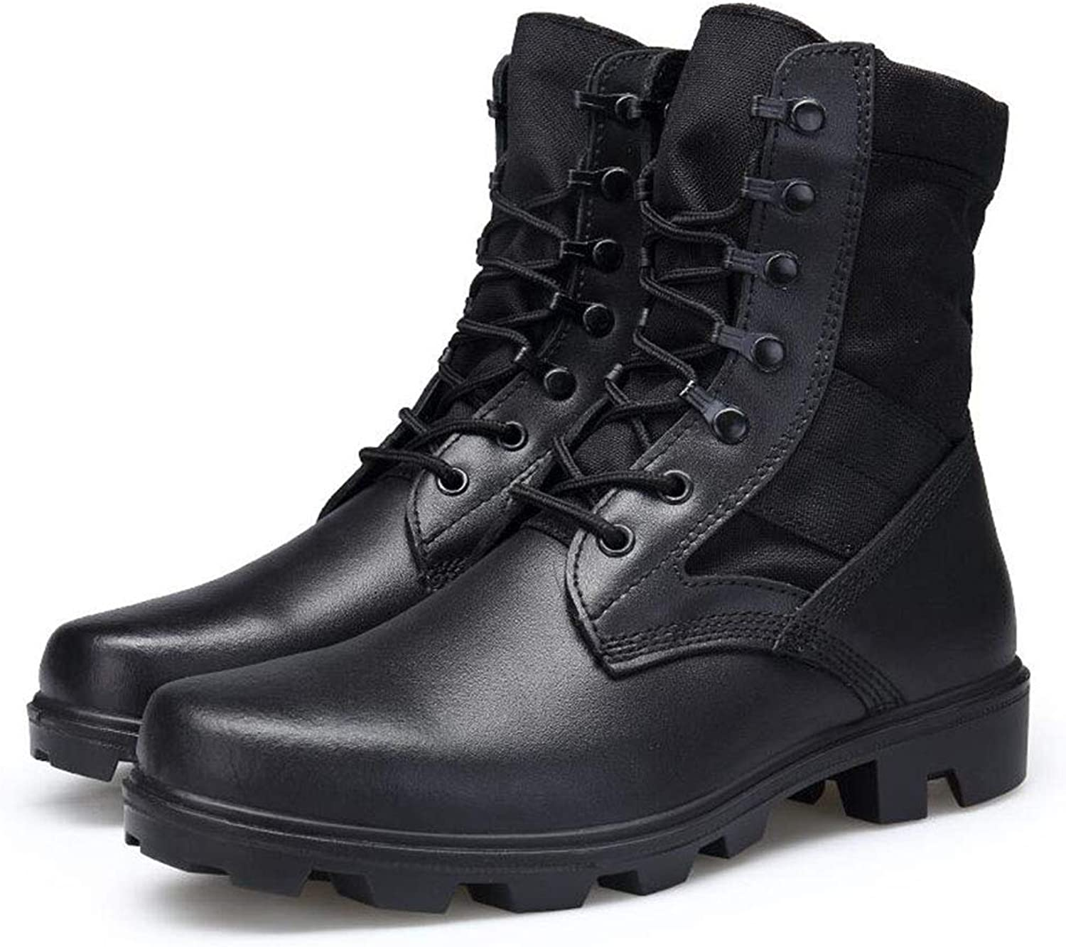 Men's Combat Boots High-Top Outdoor Lace-Up Boots Non Slip Waterproof Hiking shoes Camping shoes,Black,42