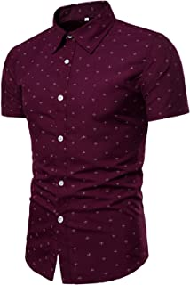 Camisa de Manga Corta Estampada para Hombre Moda Ocio Diario Verano Nueva Solapa Versátil Camisa Ajustada Regular Tops