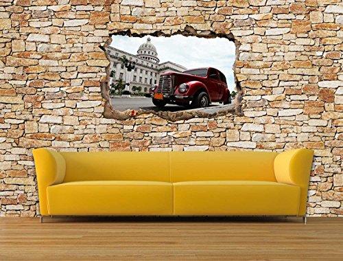 Dalinda® Designtapete Vliestapete in 3D-Optik Old Car Cuba Natursteinmauer hell Tapete VT2362