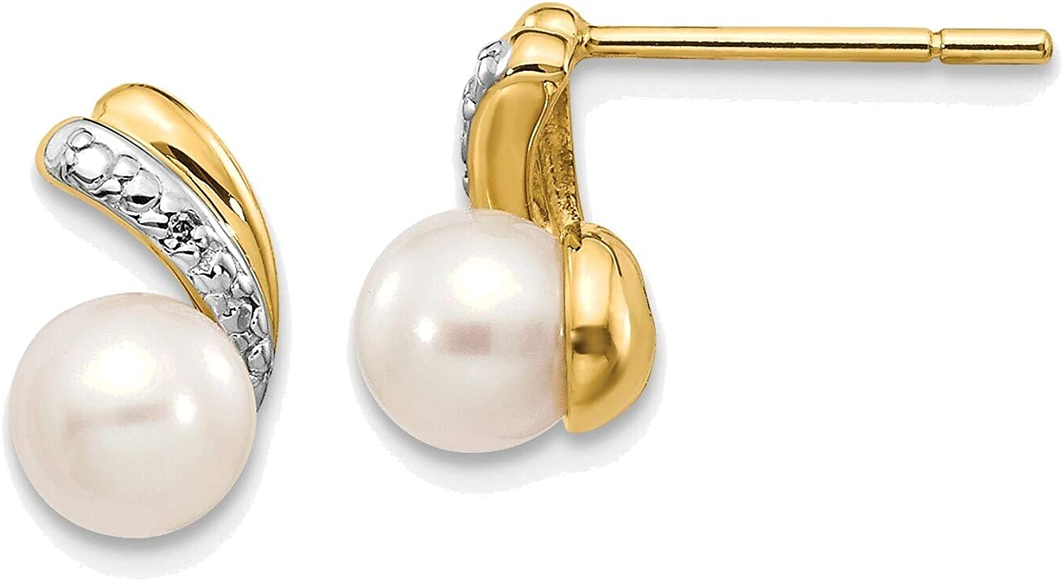 5-6mm White Round Freshwater Cultured Pearl .01ct Diamond Post Earrings in 14K Yellow Gold