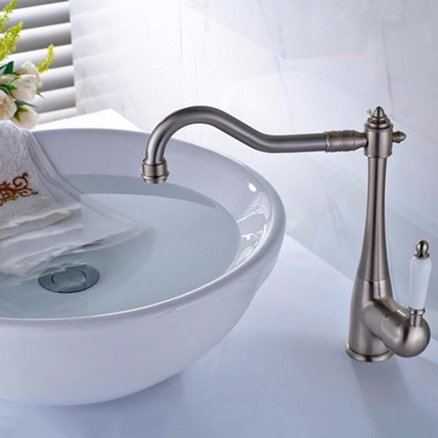 Faucet Full Copper Wire Drawing Single Hole Hot Water Faucet European Retro Face Basin Faucet