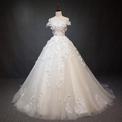 GZ Robe de Mariée Queue Robe de Mariée Robe de Mariée Mot épaule Robe de Mariée Robe de Mariée,Une,XS