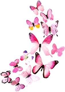 Wall Stickers, Fankle 12pcs 3D Butterfly Rainbow Gradient Decal Wall Stickers Waterproof Removable (Pink)