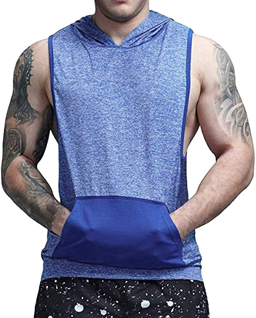 Leegor 2019 Summer Slim Fit Pocket Tank Tops Sport Gym Muscle Training Sleeveless Hooded Breathable Patterned Vest for Men