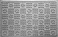 Bungalow フローリング ウォーターホッグ ドアマット 2フィート x 3フィート 米国製 耐久性 装飾フロアカバー 滑り止め 屋内/屋外 水トラップ 犬の足跡デザイン ミディアムグレー